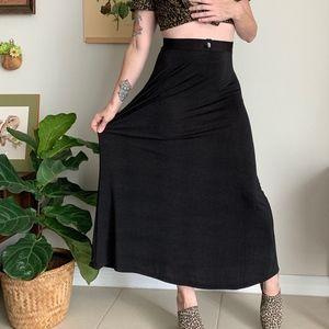 Vintage Slinky Black Maxi Skirt